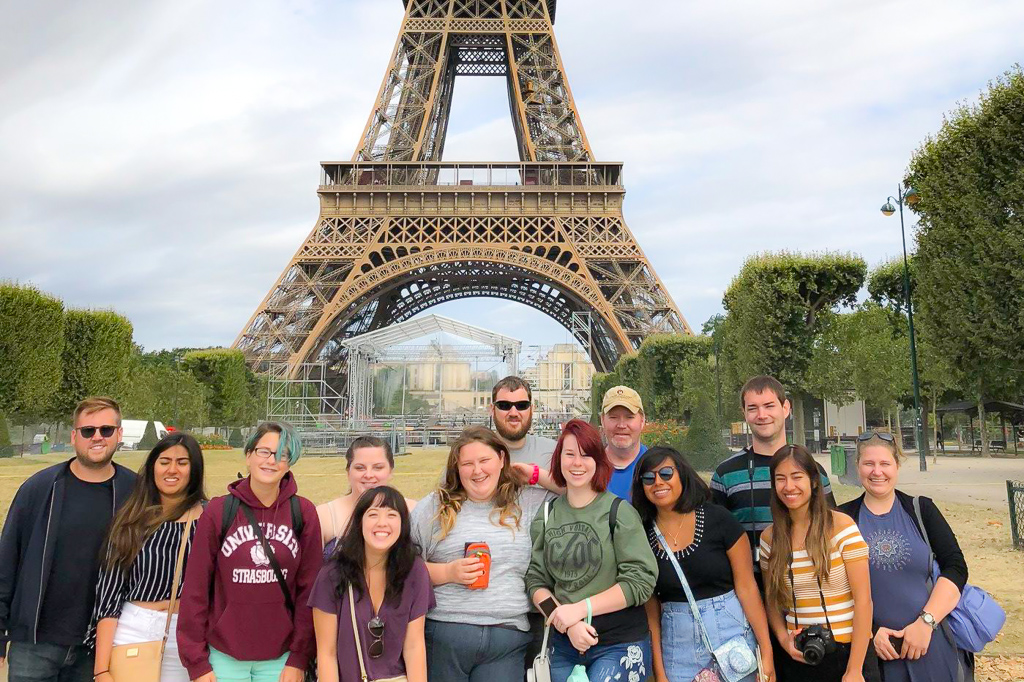 BCCC's Study Abroad in front of the Eiffel Tower.