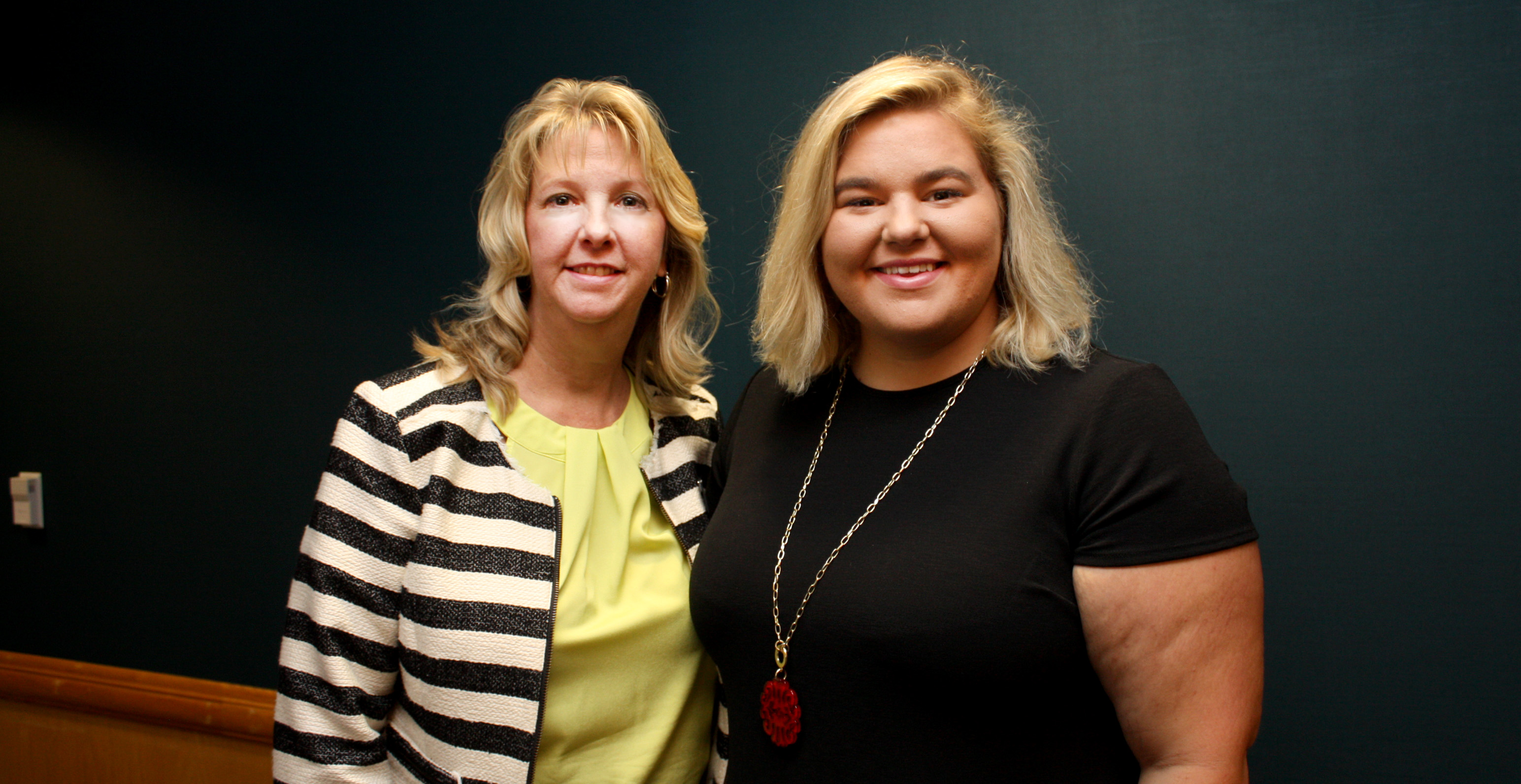 Lisa Hill (left), Dean of Arts and Sciences at BCCC, with Brooke Butler, the first participant in the PackTrac program.